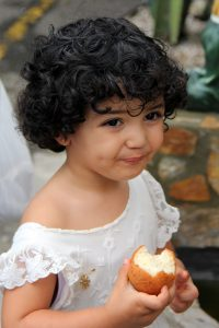 portrait, little girl, curly haired girl